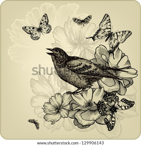 Vintage background with birds, roses and butterflies. Vector illustration. - stock vector
