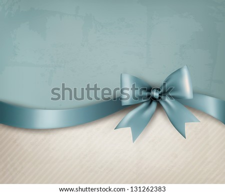 Vintage background with blue gift bow and ribbon on old paper. Vector illustration. - stock vector