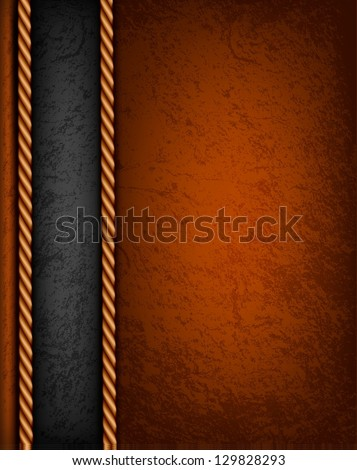 Vintage background with brown and black leather. Vector illustration. - stock vector