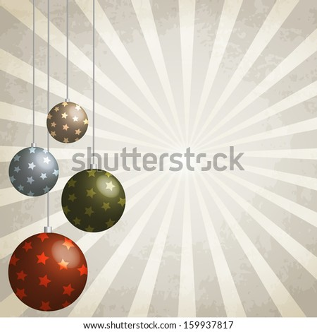 Vintage background with Christmas balls decorated - stock vector