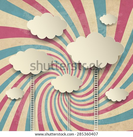 Vintage Background With Clouds  - stock vector