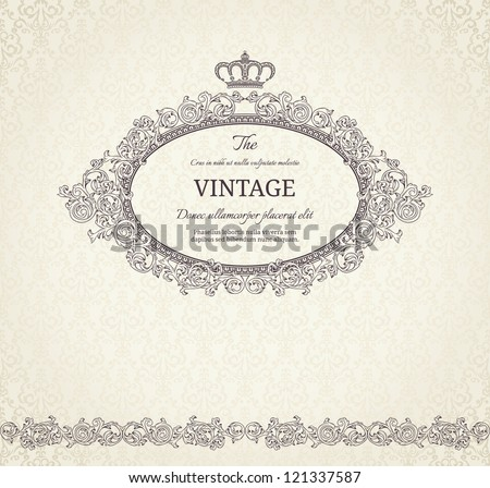 Vintage background with crown and seamless pattern - stock vector