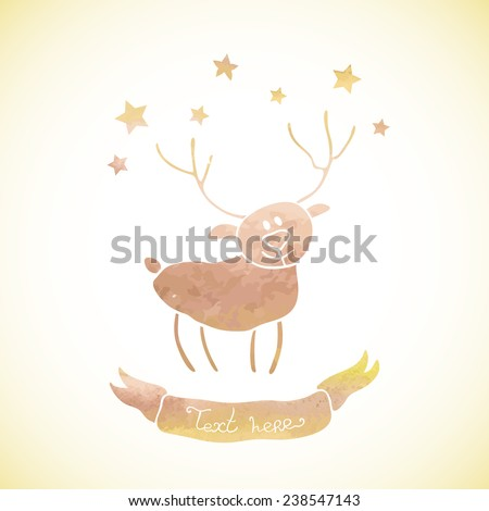Vintage background with deer and stars. Watercolor paint. Holiday theme. Can be used for card, invitation or some text. - stock vector