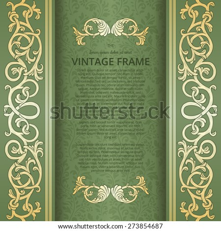 Vintage background with flourish borders - stock vector