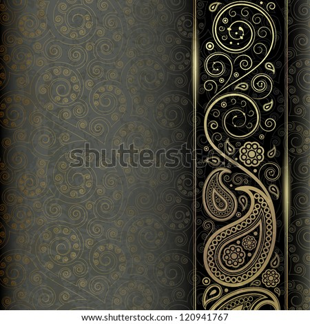 vintage background with golden pattern - stock vector