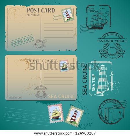 Vintage background with old postcards for your design - stock vector