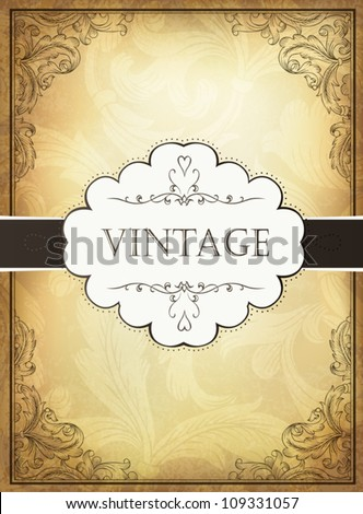 Vintage background with ornamental frame. Vector illustration, EPS10 - stock vector
