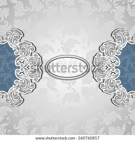 Vintage background with pattern in silver blue colors for invitation or congratulation or for package perfume, cosmetic, jewelry or for label vodka - stock vector