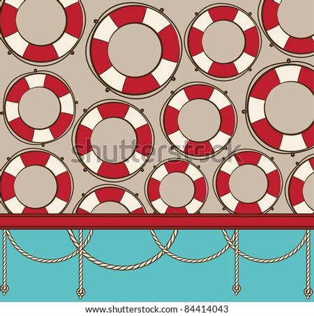 Vintage background with Red Life Buoy. Vector - stock vector