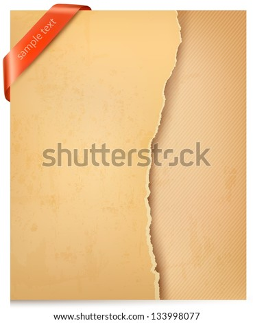Vintage background with ripped old paper and red ribbon. Vector illustration. - stock vector