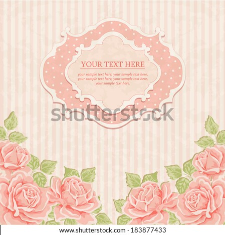 Vintage background with roses.  - stock vector