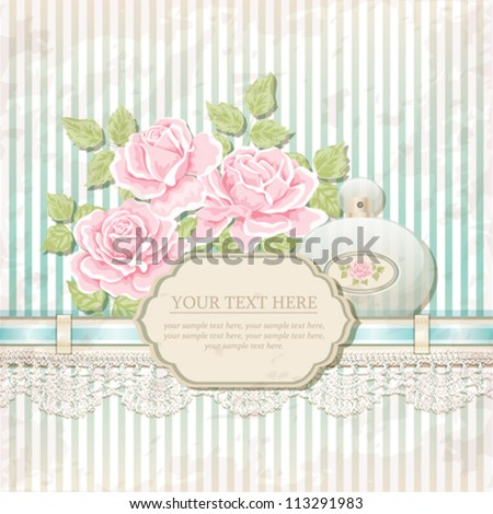 Vintage background with roses and perfume bottle - stock vector
