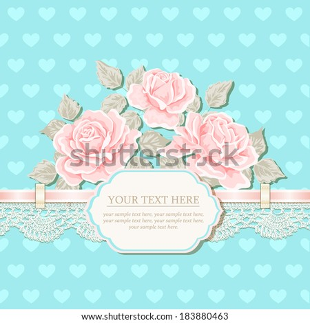 Vintage background with roses, ribbon, lace. Vector greeting card, invitation template  - stock vector