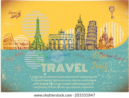 vintage background with sights of Europe. Vector Illustration. - stock vector