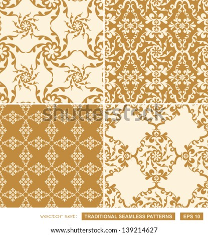 Vintage backgrounds, classic ornament, beautiful seamless patterns, vector wallpapers, floral fashion fabrics and wrappings with graphic floral elements, artistic decoration and design - stock vector