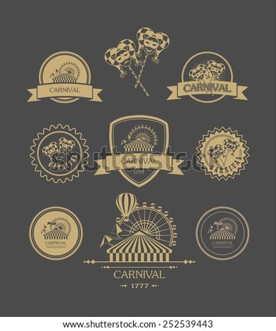 vintage badges of different shapes carnival carnival attributes on a dark background - stock vector