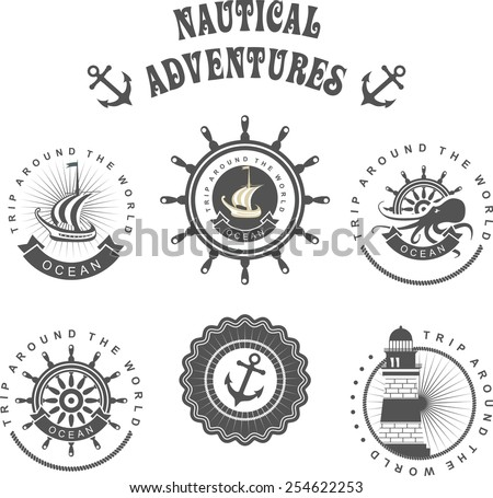 Vintage badges sea set of vintage badges on the marine theme in a circular shape with elements of the marine theme - stock vector