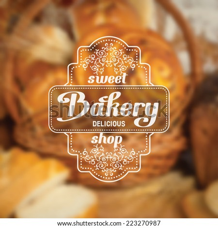 Vintage bakery badge on blurred background - stock vector