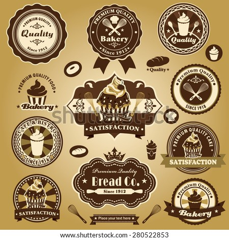 Vintage bakery cake label design set  - stock vector