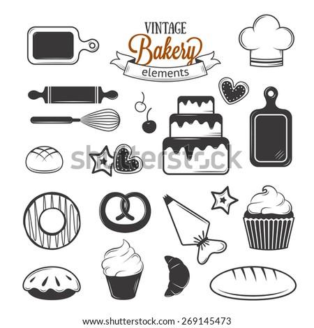 Vintage bakery elements for your illustration design - stock vector