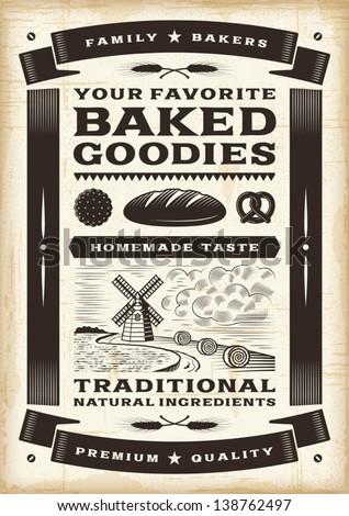 Vintage bakery poster. Editable EPS10 vector. - stock vector