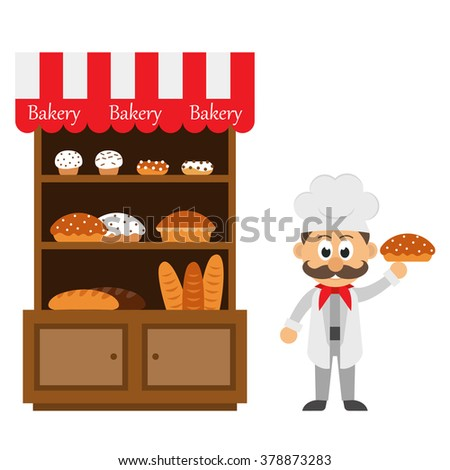 vintage bakery shelf and chef cartoon with pie - stock vector