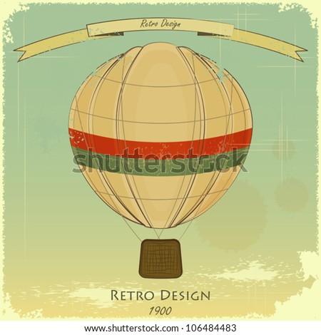 Vintage Balloon Retro card - Vector Illustration - stock vector