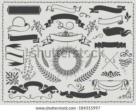 Vintage Banners - Retro vector design elements, including ribbons, branches, swirls, curls, sunburst label and leaves - stock vector