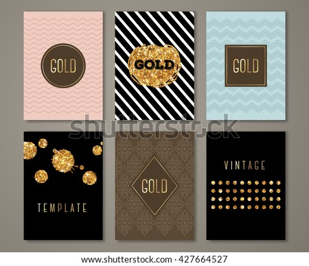 Vintage banners set, greeting card design. Golden brush strokes and drops. Vector Illustration. Painted poster invitation template with ethnic patterns and geometric frames. - stock vector