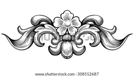 Vintage baroque floral scroll foliage ornament filigree engraving retro style design element vector - stock vector