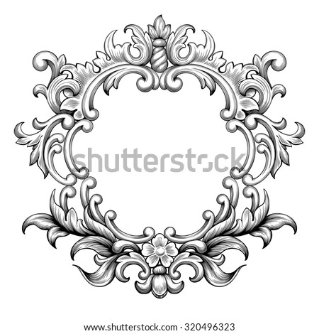 Vintage baroque frame border leaf scroll floral ornament engraving retro flower pattern antique style swirl decorative design element black and white filigree vector wedding invitation greeting card - stock vector