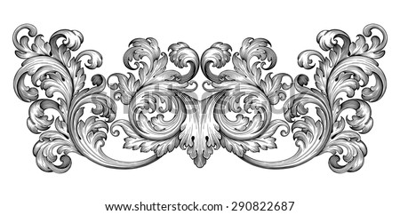 Vintage baroque frame leaf scroll floral ornament engraving border retro pattern antique style swirl decorative design element black and white filigree vector - stock vector