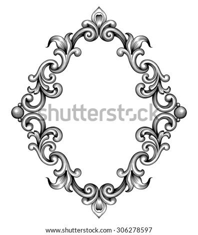 Vintage baroque frame leaf scroll floral ornament engraving border retro pattern antique style swirl decorative design element black and white filigree vector - stock vector