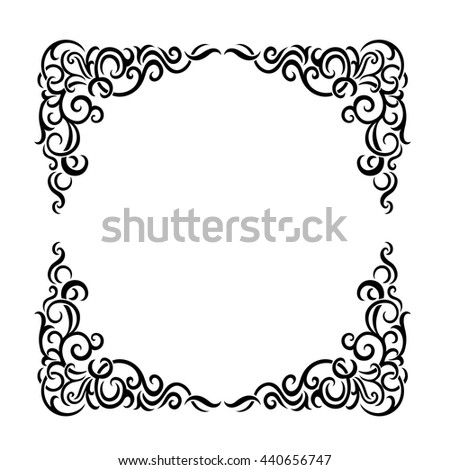 Vintage baroque frame scroll ornament engraving border floral retro pattern antique style acanthus foliage swirl decorative design element filigree calligraphy wedding - vectorTraditional golden decor - stock vector