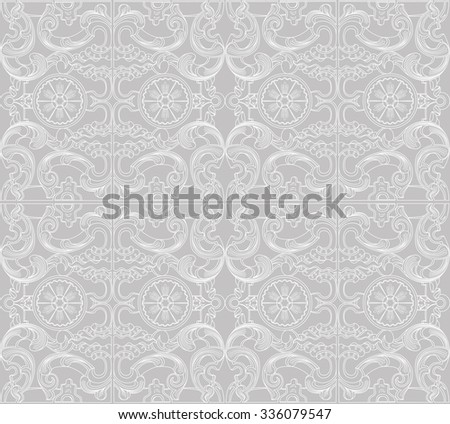 Vintage baroque geometry floral ornament. Wallpaper textile surface seamless pattern. Engraving drawing of retro antique style. Decorative design elements and vector background. - stock vector