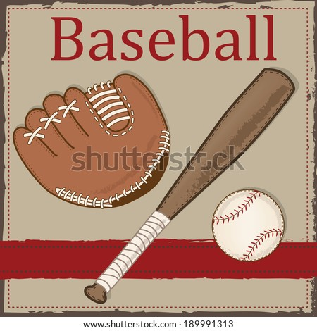 Vintage baseball ,glove or mitt and wooden bat layout for scrapbooking, cards or backgrounds, vector format - stock vector
