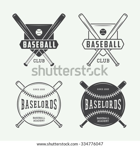 Vintage baseball or sports logo, emblem, badge, label and watermark in retro style. Vector illustration - stock vector