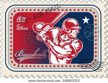 vintage Baseball postage stamp - stock vector