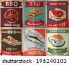 Vintage BBQ poster design set - stock vector