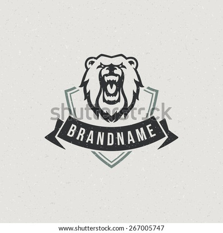 Vintage bear face mascot emblem symbol. Can be used for T-shirts print, labels, badges, stickers, logotypes vector illustration. - stock vector