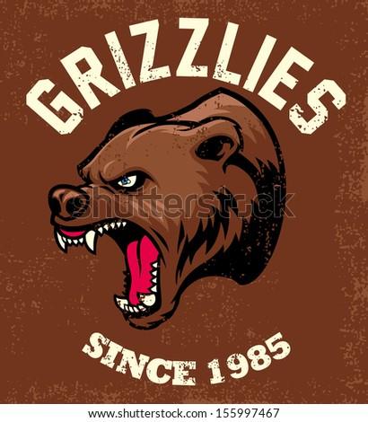 vintage bear mascot - stock vector