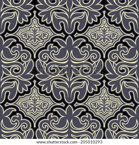 Vintage beautiful antique style background, luxury ornaments, fashioned seamless pattern, gray vector wallpaper, fabric for decoration and design - stock vector