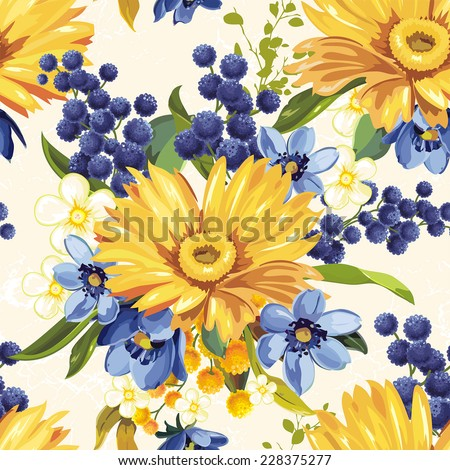Vintage Beautiful background with gerbera flower - stock vector