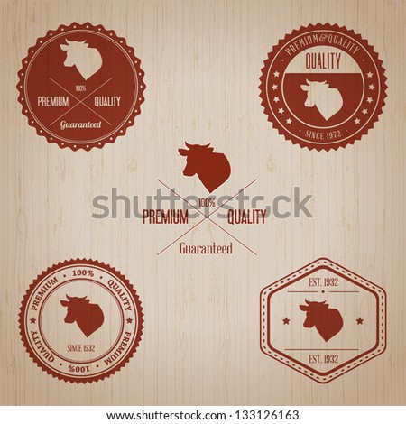 Vintage Beef Badge set | Editable EPS vector illustration - stock vector