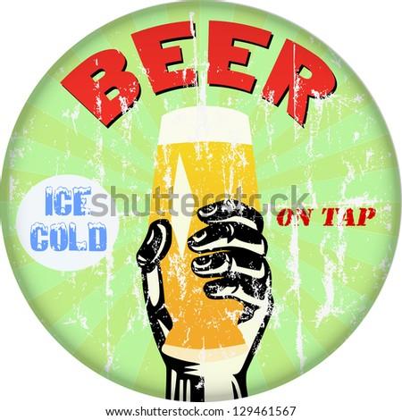 vintage beer / bar / pub sign, vector illustration - stock vector