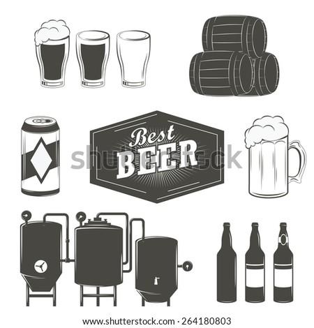 Vintage beer emblems, labels and design elements Beer set - stock vector