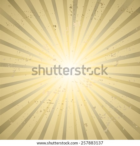 Vintage beige background with rays. Vector - stock vector