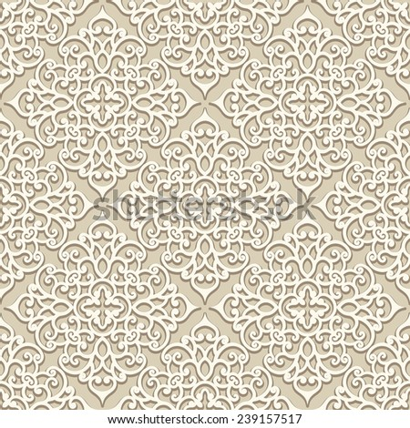 Vintage beige ornament, vector seamless pattern in neutral color - stock vector