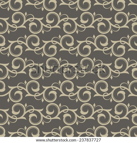 Vintage beige swirls vector wallpaper pattern. - stock vector