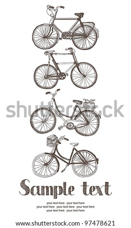 Vintage bicycle card - stock vector